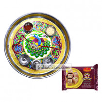 Golden Thali With Green Design And Soanpapdi