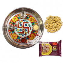 Golden Thali With Red Design And Soanpapdi And Cashew