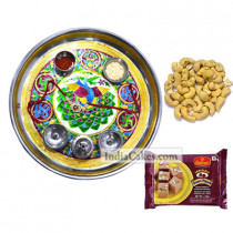 Golden Thali With Green Design And 250 gms Soanpapdi And 250 gms Cashew Dryfruits
