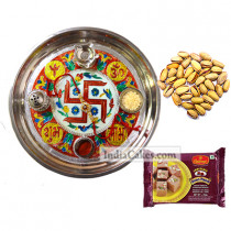 Golden Thali With Red Design And Soanpapdi And Pista