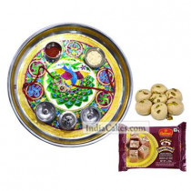 Golden Thali With Green Design And Soanpapdi With Pedha