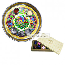 Golden Thali With Green Design And 10 Pcs Creme Color Chocolate Box