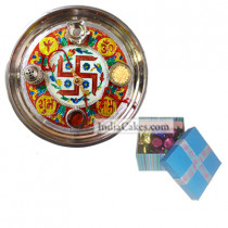 Golden Thali With Red Design And 20 Pcs Blue Chocolate Box With Ribbon