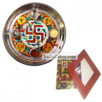 Golden Thali With Red Design And 25 Pcs Red Color Chocolate Box