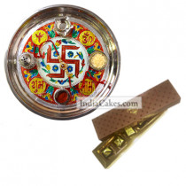 Golden Thali With Red Design And 5 Pcs Brown Color Chocolate Box