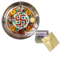 Golden Thali With Red Design And 20 Pcs Golden Chocolate Box