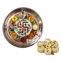 Golden Thali With Red Design And Pedha