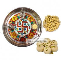 Golden Thali With Red Design And Pedha With Cashew Dryfruits