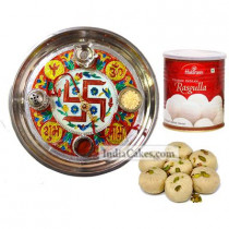 Golden Thali With Red Design And Pedha With Rasgulla