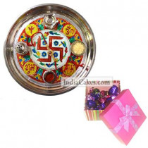 Golden Thali With Red Design And 20 Pcs Pink Chocolate Box With Ribbon