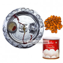 Silver Thali And Rasgulla And Almond