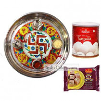 Golden Thali With Red Design And Rasgulla With Soanpapdi