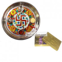 Golden Thali With Red Design And Golden Finish Design Chocolate Or Sweet Box