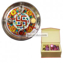 Golden Thali With Red Design And 20 Pcs Red Color Velvet Finish Chocolate Box