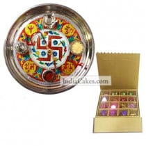 Golden Thali With Red Design And 16 Pcs Golden And Brown Stips Chocolate Box