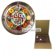 Golden Thali With Red Design And 16 Pcs Golden And Orange Stips Chocolate Box