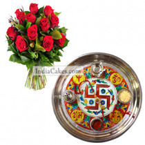Golden Thali With Red Design And Red Roses