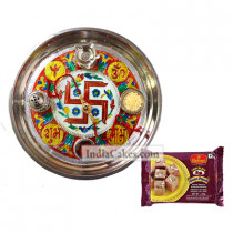 Golden Thali With Red Design And Soanpapdi