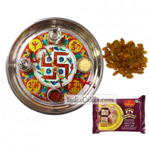 Golden Thali With Red Design And Soanpapdi And Raisins