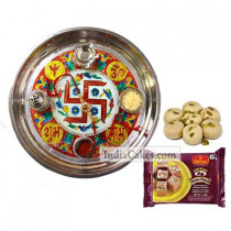 Golden Thali With Red Design And Soanpapdi With Pedha