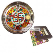 Golden Thali With Red Design And 25 Pcs Brown Color Chocolate Box