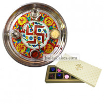 Golden Thali With Red Design And 10 Pcs Creme Color Chocolate Box