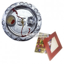 Silver Thali And 25 Pcs Red Color Chocolate Box