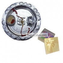 Silver Thali And 20 Pcs Golden Chocolate Box