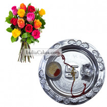 Silver Thali with Mix Roses