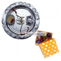 Silver Thali And 20 Pcs Polka Dot Orange And White Color Chocolate Box