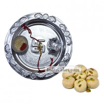 Silver Thali With Pedha