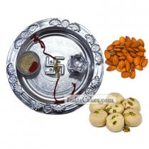 Silver Thali And Pedha With Almond Dryfruits
