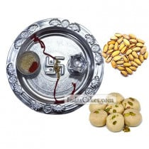 Silver Thali And Pedha With Pista Dryfruits
