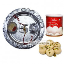 Silver Thali And Pedha With Rasgulla