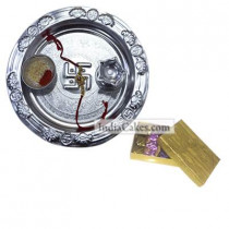 Silver Thali And Golden Finish Design Chocolate Or Sweet Box