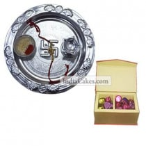 Silver Thali And 20 Pcs Red Color Velvet Finish Chocolate Box
