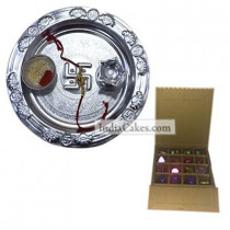 Silver Thali And 16 Pcs Golden And Orange Stips Chocolate Box