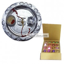 Silver Thali And 16 Pcs Golden And Brown Stips Chocolate Box