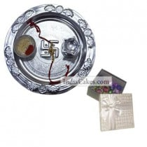 Silver Thali And 20 Pcs Silver Color Chocolate Box