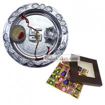 Silver Thali And 25 Pcs Brown Color Chocolate Box