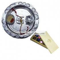 Silver Thali And 10 Pcs Creme Color Chocolate Box