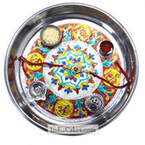 Silver Thali With Design