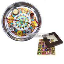 Silver Thali With Design And 25 Pcs Brown Color Chocolate Box