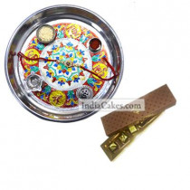 Silver Thali With Design And 5 Pcs Brown Color Chocolate Box