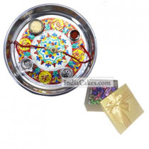 Silver Thali With Design And 20 Pcs Golden Chocolate Box