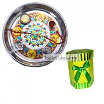 Silver Thali With Design And Hexagon Shaped Green Color Chocolate Box