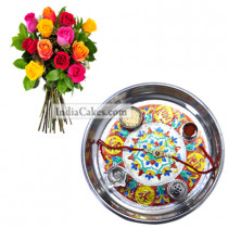 Silver Thali With Design and Mix Roses