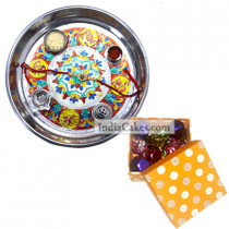 Silver Thali With Design And 20 Pcs Polka Dot Orange And White Color Chocolate Box
