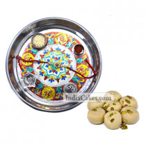 Silver Thali With Design And Pedha