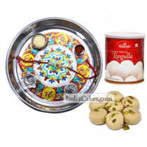 Silver Thali With Design And Pedha With Rasgulla